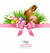 stock photo of easter eggs bunny  - Happy Easter background - JPG
