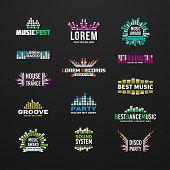 image of equality  - First music equalizer emblem elements set separated - JPG