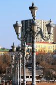 pic of light-pole  - poles with lanterns street lighting on the winter promenade Vladivostok - JPG