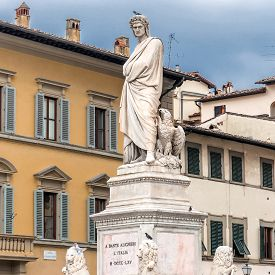 pic of alighieri  - Statue of Dante Alighieri located in Santa Croce square in Florence Italy - JPG