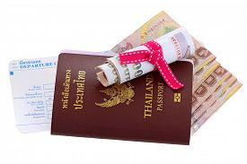 pic of passport cover  - Thai electronic passport with Thai Baht and departure card - JPG