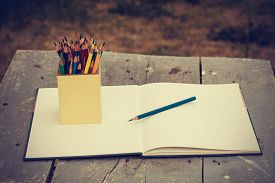 picture of pencils  - color pencils in vintage style - JPG