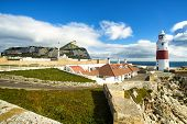 stock photo of gibraltar  - Europa Point in Gribraltar with lighthouse mosque Ibrahim - JPG