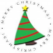 image of merry christmas  - circular design of christmas tree featuring merry christmas - JPG