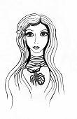pic of scorpio  - graphic zodiac sign illustration Scorpio  pencil and ink pen - JPG
