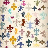 picture of winged-horse  - Heraldic seamless pattern with lions horses griffins and fleur de lis - JPG