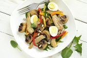 image of quail  - Chicken and mushroom salad with quail eggs and fresh herbs - JPG