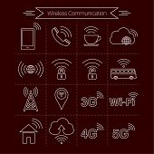 picture of internet-cafe  - Set of icons of wireless communications - JPG