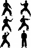stock photo of karate  - illustration of karate silhouettes collection  - JPG