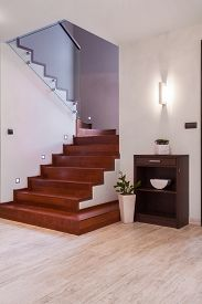 picture of stairway  - Interior of bright anteroom with wooden stairway - JPG