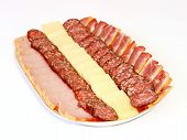 picture of doughy  - Cutting from sausage pork balyk and cheese - JPG