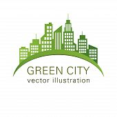 Green City Logo, Ecology Design, Vector Building Web Icon, Label, Urban Landscape,  Silhouettes, Cit poster
