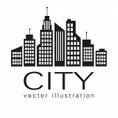 City Logo, Vector Building Web Icon, Label, Urban Landscape,  Silhouettes, Cityscape, Town Skyline, poster