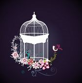 sweet dark blue card with bird cage design