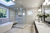 Spacious Bathroom In Gray Tones With Heated Floors poster