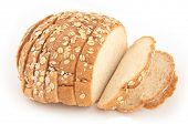 stock photo of fresh slice bread  - isolated loaf of sliced bread on white - JPG