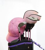picture of ladies golf  - A ladys pink cap and golf bag set with pink metal flake shafts - JPG