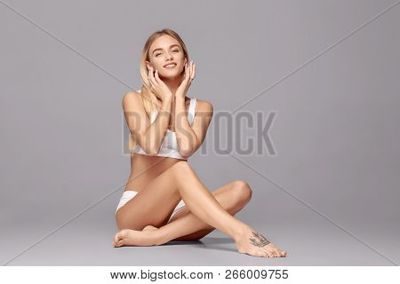 poster of Perfect Slim Toned Young Body Of The Girl Or Fit Woman At Studio. The Fitness, Diet, Sports, Plastic