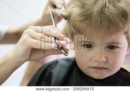 poster of Hair Salon That Specializes In Toddlers. Little Boy With Blond Hair At Hairdresser. Small Child In H