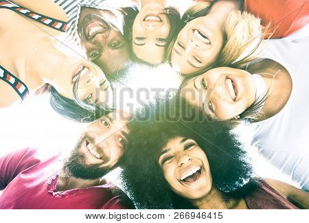 poster of Multicultural Best Friends Millenials Taking Selfie With Back Lighting - Happy Youth Friendship Conc