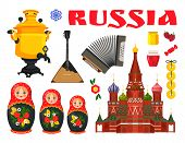 Russian Culture Samovar, Balalaika And Nesting Doll, Preserve And Bagel Bunch, Candy And Honey, Pres poster