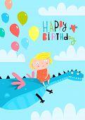 Cute Kid And Dinosaur Happy Birthday Greeting Card poster