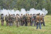 Gettysburg Battlefield From American Civil War. Infantry Firing Rifles poster