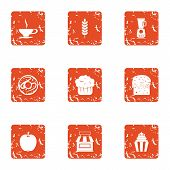 Pure Coffee Icons Set. Grunge Set Of 9 Pure Coffee Icons For Web Isolated On White Background poster