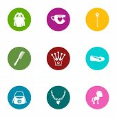 Prom Icons Set. Flat Set Of 9 Prom Icons For Web Isolated On White Background poster