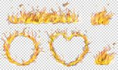 Translucent Heart, Ring, Campfire And Long Banner Of Fire Flame On Transparent Background. Transpare poster