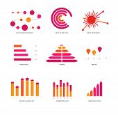 Infographic Elements, Info Presentation Vector Set. Pink, Purple Female Chart Set, Data Visualisatio poster
