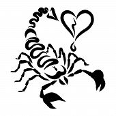 Scorpio With An Arrow On The Tail And A Broken Heart, Creative Pattern poster