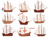 Flat Vector Set Of Old Wooden Ships. Large Marine Vessels With Sails And Flags. Sea And Ocean Theme poster