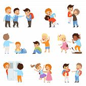 Kids Bullying The Weaks Set, Boys And Girls Mocking Classmates, Bad Behavior, Conflict Between Child poster