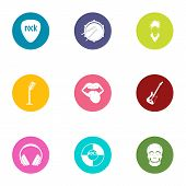 Rock Band Icons Set. Flat Set Of 9 Rock Band Icons For Web Isolated On White Background poster