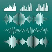 Vector Sound Waveforms Icon. Sound Waves And Musical Pulse Vecto poster