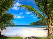 image of beach sunset  - beautiful tropical beach in Thailand - JPG