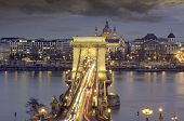 Panorama Of Budapest With The Chain Bridge At Night, Hungary. poster