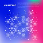 Data Processing Concept In Honeycombs With Thin Line Icons: Data Science, Filtering, Deep Learning,  poster