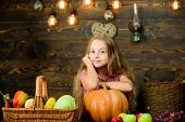 Farm Market Fall Harvest. Harvest Festival Concept. Kid Girl Near Basket Full Of Fresh Vegetables Ha poster
