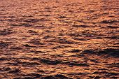 Water Surface With Sunset Light Reflection. River Or Sea Water Beautiful Pattern With Small Waves On poster
