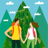 A Pair Of Travelers With A Large Backpacks Looking At The Mountain. Romantic Backpacker Illustration poster