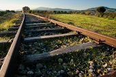 foto of train track  - landscape for a old railway abandoned - JPG