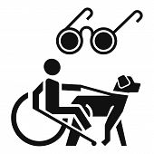 Blind Man Wheelchair Dog Icon. Simple Illustration Of Blind Man Wheelchair Dog Vector Icon For Web D poster