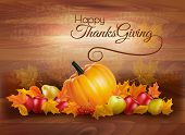 Happy Thanksgiving Card With Autumn Vegetables And Fruit On Wooden Background. Vector. poster