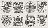Vintage Monochrome Diving Logos Set With Skull In Scuba Mask Snorkel Oxygen Balloons Spear Gun Diver poster