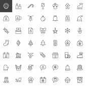 Merry Christmas Outline Icons Set. Linear Style Symbols Collection, Line Signs Pack. Vector Graphics poster