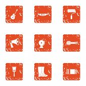 Processing Of Construction Material Icons Set. Grunge Set Of 9 Processing Of Construction Material V poster