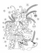 Christmas Coloring Page For Kids And Adults. Cute Snowman With Scarf And Knitted Cap. Pile Of Holida poster