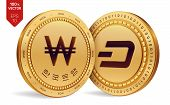 Dash. Won. 3d Isometric Physical Coins. Digital Currency. Korea Won Coin With The Text In Korean Ban poster
